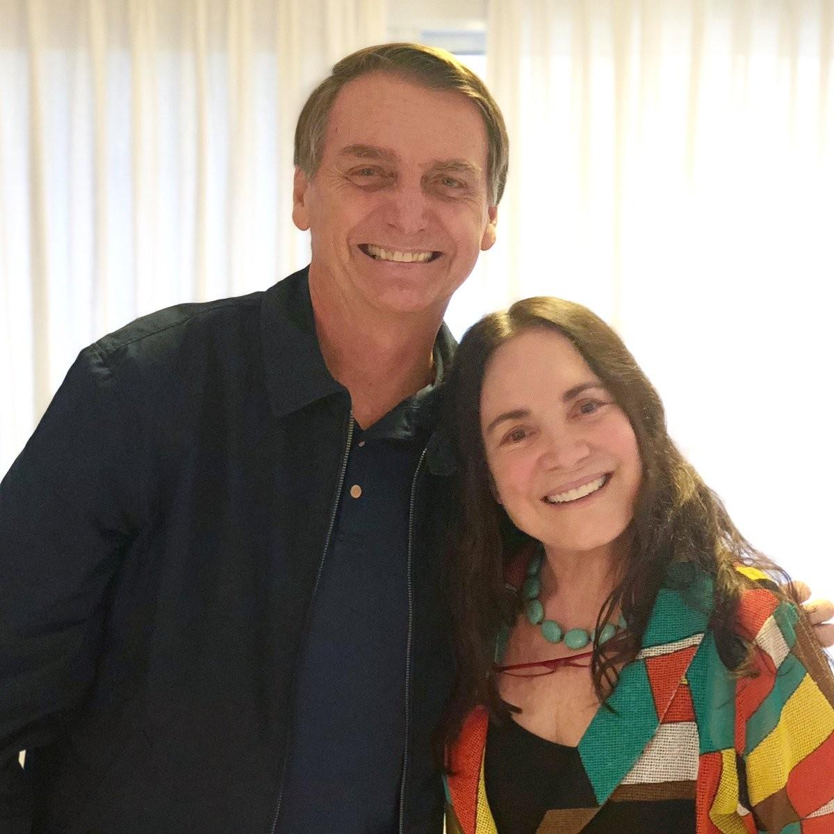 Regina Duarte com Bolsonaro - Reprodução Twitter 11.10.2018