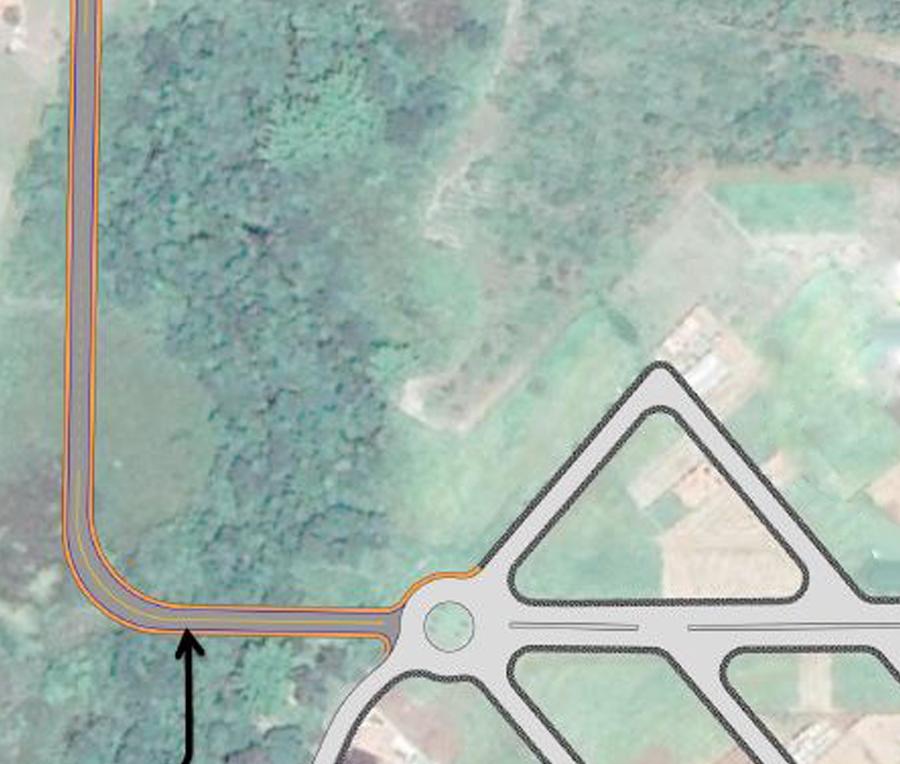 Detalhe do projeto da futura ponte (à esquerda)